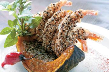 Camarão em crosta crocante
