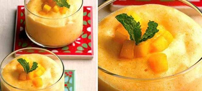 Mousse de laranja e manga